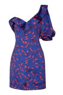 Синее платье с принтом Self Portrait