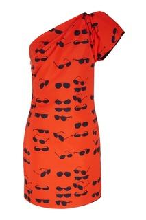 Красное платье с принтом Victoria Beckham