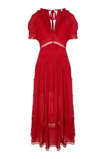 Длинное красное платье Self Portrait