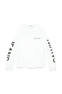 Белый лонгслив с контрастным логотипом Calvin Klein