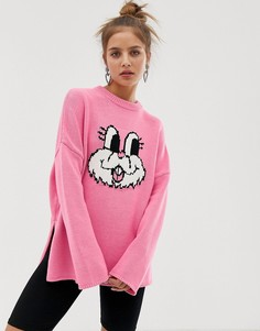 Oversize-джемпер с отворачивающимся воротом Lazy Oaf - Розовый