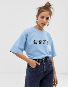 Свободная футболка с цветочным принтом Lazy Oaf - Синий