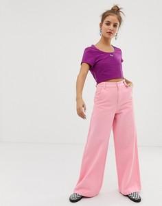 Джинсы с широкими штанинами и цветочной вышивкой Lazy Oaf - Розовый