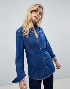 Джинсовая рубашка в стиле вестерн Maison Scotch - Темно-синий