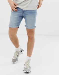 Выбеленные джинсовые шорты классического кроя Selected Homme - Синий