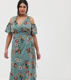 Сине-зеленое платье миди с цветочным принтом, открытыми плечами и поясом Lovedrobe - Зеленый