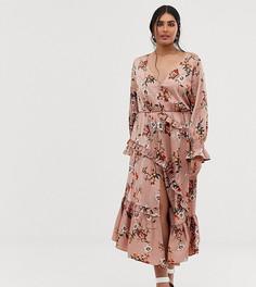Розовое платье на пуговицах с пышными рукавами и оборками на юбке Lovedrobe - Розовый