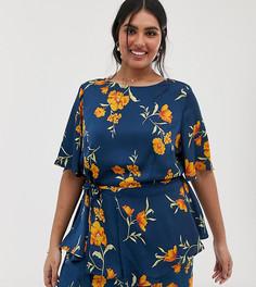 Оранжевая атласная длинная блузка с цветочным принтом и поясом Lovedrobe - Зеленый