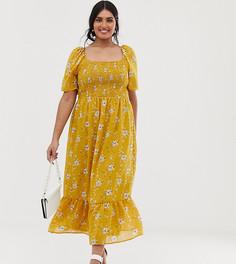 Платье миди с цветочным принтом, присборенным лифом и оборкой Lovedrobe - Желтый