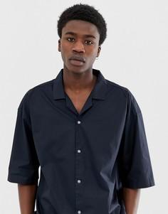 Темно-синяя хлопковая рубашка прямого кроя ASOS WHITE - Темно-синий