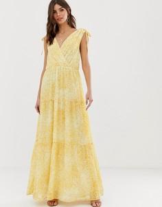 Платье макси с запахом и цветочным принтом Vila - Мульти