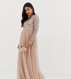 Декорированное пайетками платье макси с длинными рукавами и юбкой из тюля Maya Maternity Bridesmaid - Коричневый