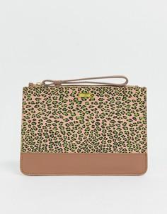 Кожаный клатч с леопардовым принтом Maison Scotch - Коричневый