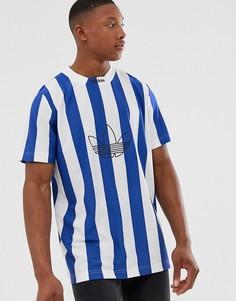 Синяя футболка с полосками и логотипом adidas Originals - Синий