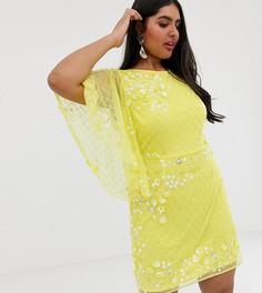 Платье мини А-силуэта с броской отделкой ASOS DESIGN Curve - Мульти