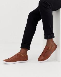 Светло-коричневые кожаные кроссовки Fred Perry Baseline - Рыжий