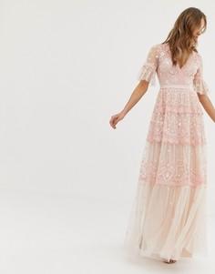 Розовое платье макси с вышивкой и рукавами клеш Needle & Thread - Розовый