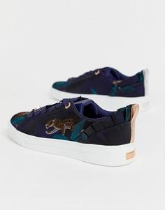 Синие атласные жаккардовые кроссовки в стиле Гудини Ted Baker - Синий