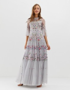 Синее платье с вышивкой и высоким воротом Needle & Thread - Синий
