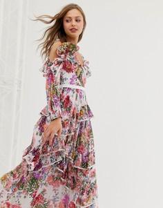 Платье макси с цветочным принтом и открытыми плечами Needle & Thread - Белый