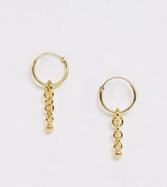 Серебряные позолоченные серьги-кольца с подвесками-цепочками ASOS DESIGN - Золотой