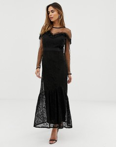Платье макси с кружевной накладкой и оборками Liquorish - Черный