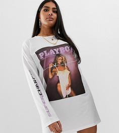 Белое платье-футболка с принтом журнала Playboy Missguided Plus - Черный