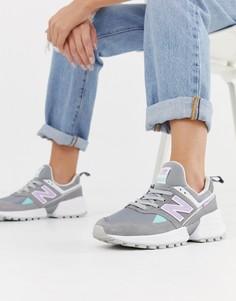Серые кроссовки с розовыми вставками New Balance 574 Sport V2 - Серый