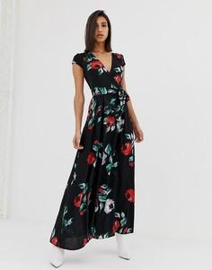 Платье миди с цветочным принтом AX Paris - Черный