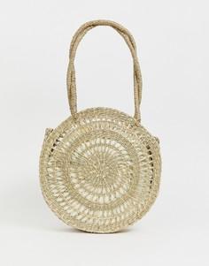 Круглая соломенная сумка-шоппер с вынимаемым внутренним отделением ASOS DESIGN - Коричневый