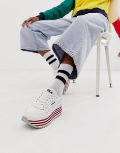 Белые кроссовки с полосками Fila - Белый