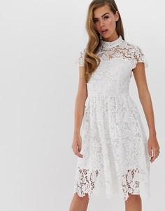 Короткое приталенное платье с отделкой кроше Club L - Белый