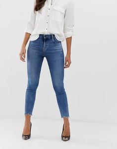 Укороченные джинсы скинни из органического хлопка с необработанным краем J Brand Alana - Синий