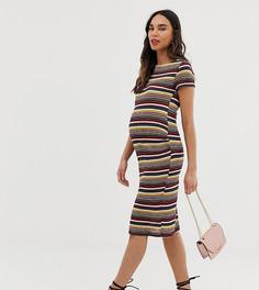 Платье-футболка миди в полоску Mamalicious - Мульти Mama.Licious
