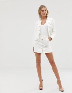 Белая джинсовая юбка с контрастными строчками Lipsy - Белый