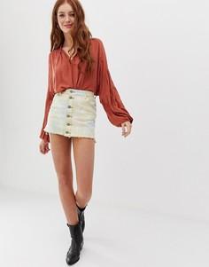 Джинсовая юбка с принтом тай-дай Glamorous - Мульти
