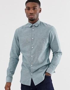 Облегающая строгая льняная рубашка Selected Homme - Синий