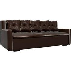 Прямой диван Лига Диванов Витаре экокожа коричневый