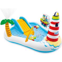 Игровой центр Intex 57162 Веселая рыбалка с горкой, фонтаном, игрушками и мячами, (218х188х99см)