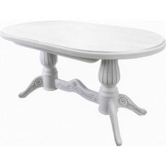 Стол обеденный Мебелик Рифей 01 раздвижной белый/патина 160/200x90
