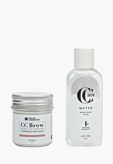 Набор для макияжа бровей CC Brow в баночке (светло-коричневый), 10 гр+ вода для разведения хны
