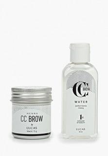 Набор для макияжа бровей CC Brow в баночке (черный), 5 гр+ вода для разведения хны