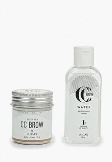 Набор для макияжа бровей CC Brow в баночке (светло-коричневый), 5 гр + вода для разведения хны