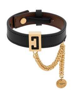 Givenchy браслет с фирменной бляшкой и цепочкой