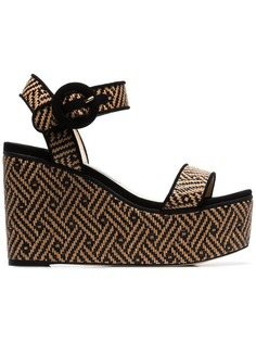Jimmy Choo nude Abigail 100 woven wedge leather sandals