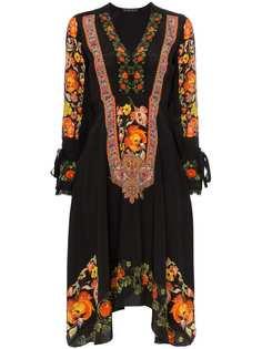 Etro платье с V-образным вырезом и цветочным принтом