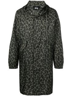Stussy куртка с капюшоном и леопардовым принтом
