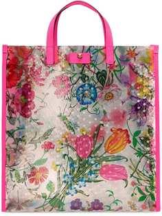 Gucci сумка-тоут с цветочным принтом