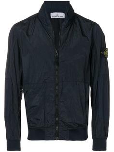 Stone Island куртка-бомбер с мятым эффектом