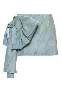 Голубая джинсовая мини-юбка с декором Miu Miu